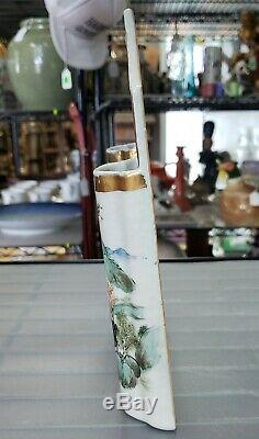 Circa 1870 Chinese Porcelain Gilded Village Motif Double Wall Pocket Vase