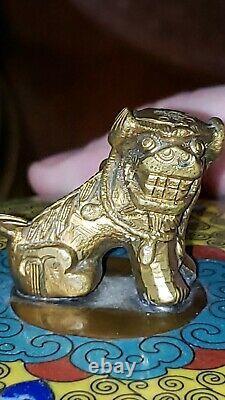 Cloisonne Antique Tobacco or tea Humidor Chinese Foo Dog Enamel Bronze Jar