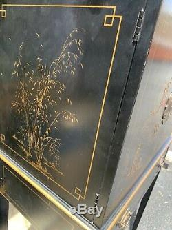 Drexel Chinoiserie Silver Chest Cabinet