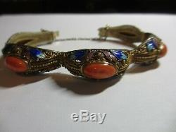 EXQUISITE VINTAGE CHINESE EXPORT SILVER FILIGREE ENAMEL BRACELET WithSALMON CORAL
