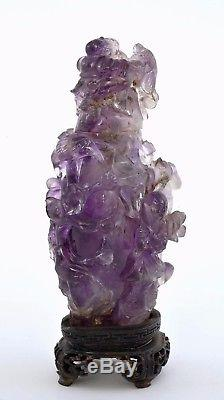 Early 20C Chinese Amethyst Quartz Carved Carving Boys Figure Vase Wood Stand