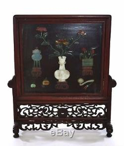 Early 20C Chinese Jade Jadeite Agate Hardstone Inlaid Lacquer Wood Screen Plaque