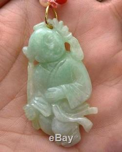 Early 20C Chinese Jade Jadeite Carved Boy Natural Red Coral Pearl Bead Necklace