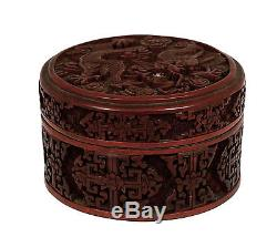 Early 20C Chinese Lacquer Cinnabar Carved Carving Dragon Enamel Box Tea Caddy