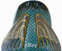 Early 20th Century Chinese Gilt Cloisonne Enamel Duck Bird on Wood Stand