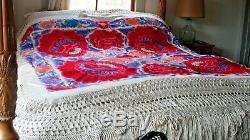 Embroidered Piano Shawl Antique 1900-1920s Silk Embroidery Chinese Canton 7lbs