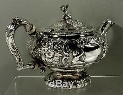 English Sterling Teapot 1818 Chinese Man Wolf Handle