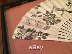 Excellent Chinese Hand Painted Fan and Qing Dynasty Textile Fan Cover, Framed