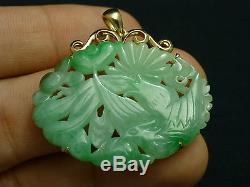 Exquisite Antique 18k Gold Chinese Grade A Apple Green Jade and Brooch Pendant
