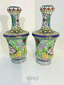 Exquisite Pair Of Garlic Head Matched Chinese Cloisonne Vases