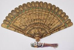 Fine 19C Antique Chinese Gold Gilt Hand Painted Black Lacquer Brise Fan Qing