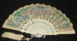 Fine Antique Chinese Export Mandarin Fan in Original Lacquer Box, Circa 1850