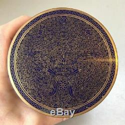 Fine Antique Chinese Midnight Blue Cloisonne Humidor Trinket Box Casket Jar