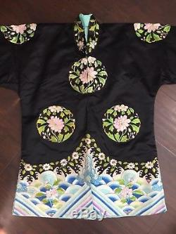 Fine Antique Chinese Qing Qi Pao Silk Embroidery Robe Jacket Art Flowers WOW