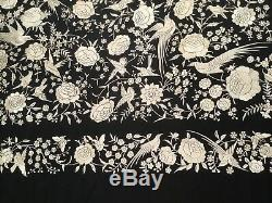 Fine Antique Vintage Chinese Canton Embroidered Silk Piano Shawl Embroidery #1