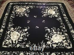 Fine Antique Vintage Chinese Canton Embroidered Silk Piano Shawl Embroidery #2