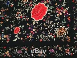 Fine Antique/ Vintage Chinese Canton Embroidered Silk Piano Shawl Embroidery #5