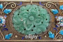 Fine Chinese Jade & Gold Gilt Silver Cloisonné Enamel Birds Flowers Trinket Box