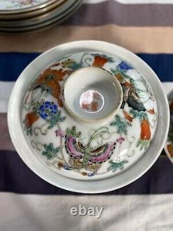 Fine Pair Of Antique Chinese Famille Rose Butterflies Lidded Bowls Qianlong Mark