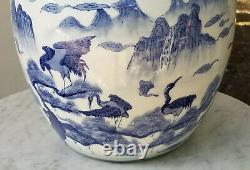 GRAND ANTIQUE CHINESE EXPORT BLUE and WHITE LANDSCAPE PORCELAIN GINGER JAR 18