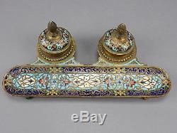 Gorgeous Antique Chinese Cloisonne ink well set and bamboo Brush 19th century