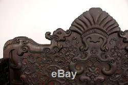 Gorgeous Chinese Zitan Wood Throne Chair Dragons, Lotus, tendrils 43 inches