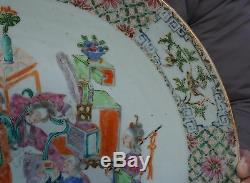 HUGE 38cm Antique Chinese Famille Rose Porcelain Eight Immortals Plate 19th C