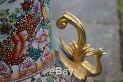 HUGE Chinese Palace Vase-Moriage Satsuma-Men Women-Colorful Beaded Flowers-Marke