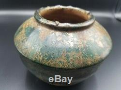 Han Dynasty Ancient Chinese Green Glazed Archaic Pottery Vessel 206bc-220ad