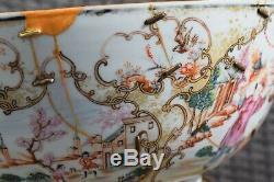 Huge Antique Chinese Rose Mandarin Punch Bowl Qianlong Period