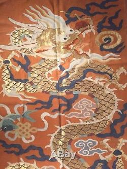 Huge Rare Size 178cmx81cm Chinese Kesi Dragon, 19th C