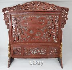 Incredible Large Chinese intricately carved Gilt wood Dragon Screen 74