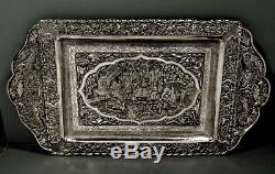 Indian Silver Tray c1910 CHINESE EXPORT SILVER SIGNED 68 OZ