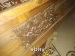 Indo Chinese Southeast Asain Carved Teak Hardwood Chaise Opium Bed & Daybed
