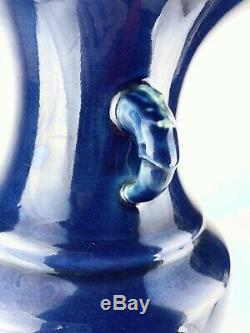 Kangxi Qianlong Chinese Antique Porcelain Monochromic Blue-Enamelled Vase 18th. C