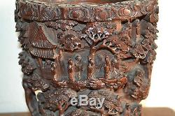 Large 19th Century Chinese Deeply Carved Scholar's Bamboo Brush Pot, c 1820