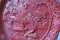 Large 9.5 Vintage/Antique Chinese Carved Cinnabar Lacquer Plate Romantic EX++