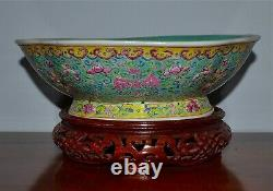 Large Antique Chinese Famille Rose Porcelain Footed Bowl Pheonix Wood Stand