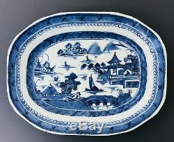 Large Chinese Antique 18th C Blue And White Platter Plate Meat Dish Canton
