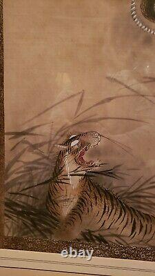 Large Chinese Antique Dragon and Tiger watercolor painting on silk Qing Dynasty