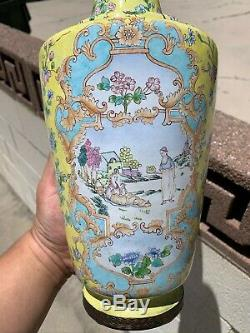 Large Chinese Antique Yellow Cloisonne Enamel Vase Pair With Flowers