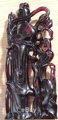Large Chinese Carved Cherry Amber Bakelite Kwan Yin Phoenix
