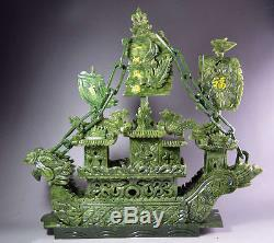 Large Chinese Hand Carved 100% Natural Jade Dragon Incense statue Dragon Boat NT