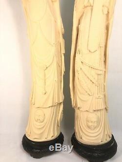 Large Handmade Vintage Chinese / Italian'Ivory' Resin Statues (Pair) Norleans