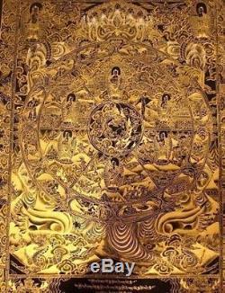 Large Rare Tibetan Chinese Hand painted Buddha wheel Mandala Thangka painting