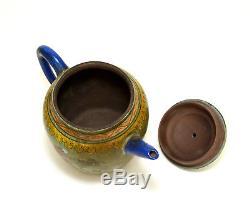 Large Vintage Chinese Yixing Zisha Purple Clay Color Enamel Ceramic Teapot