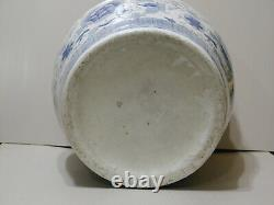 Large Vintage Hand Painted Chinese Blue and White Porcelain Planter 14