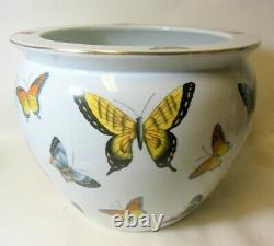 Large Vtg Chinese Porcelain Pot Jardiniere Bowl VASE PLANTER BUTTERFLIES