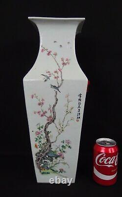 Large antique chinese famille rose porcelain birds square vase 19th calligraphy