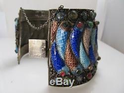 Massive Chinese Export Silver Bracelet Enamel Fish Jadeite Jade Tourmaline Old